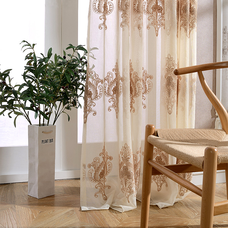 Korean White And Brown Embroidered Voile Curtains Polyester Sheer Curtains  For Living Room Kitchen Bedroom Tulle Window Curtains