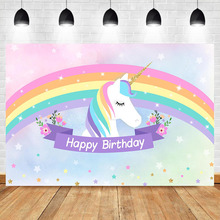 Neoback Unicorn Rainbow Photo Backdrops Newborn Baby Shower Flower Twinkle Little Stars Photography Background