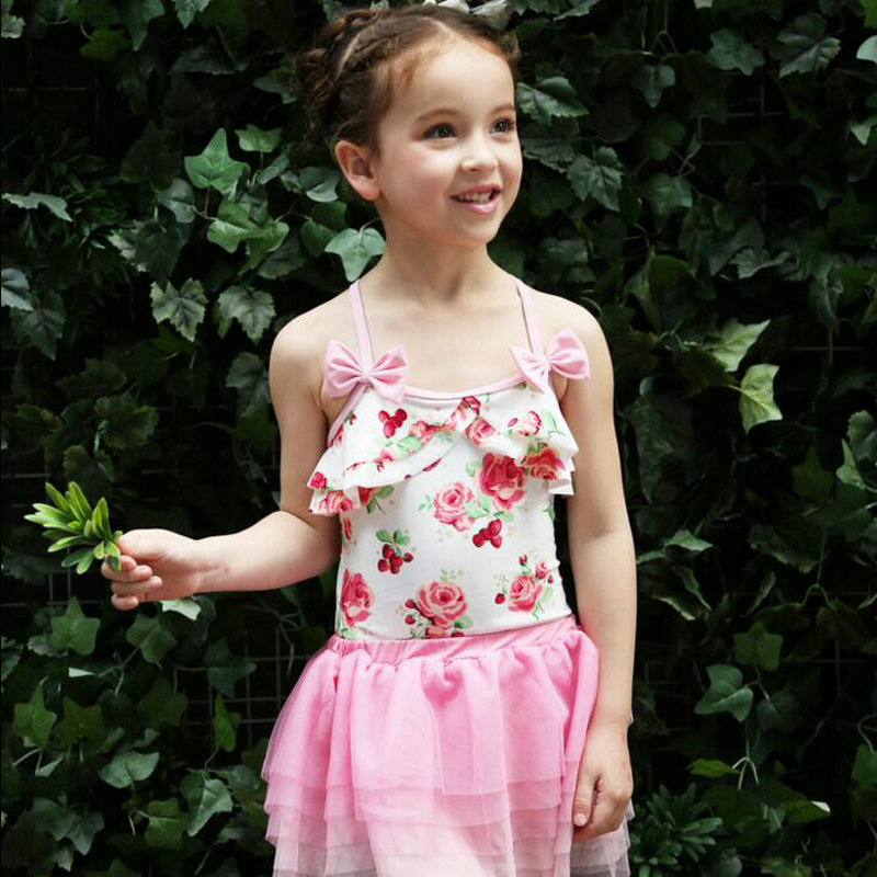 Cute Floral Toddler Girl Swimsuit Girl Swimwear 3 Unidades Sets 2017 - Ropa deportiva y accesorios