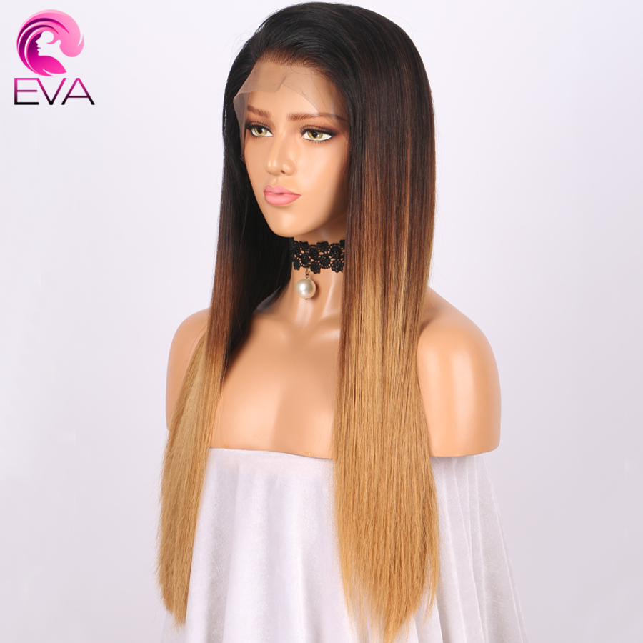 Lace Front Human Hair Wigs Straight Ombre Brazilian Remy Hair Pre Plucked Natural Hairline Lace Front Wig With Baby Hair EVA