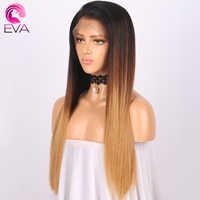 Lace Front Menselijk Haar Pruiken Straight Ombre Braziliaanse Remy Haar Pre Geplukt Natuurlijke Haarlijn Lace Front Pruik Met Baby Haar EVA
