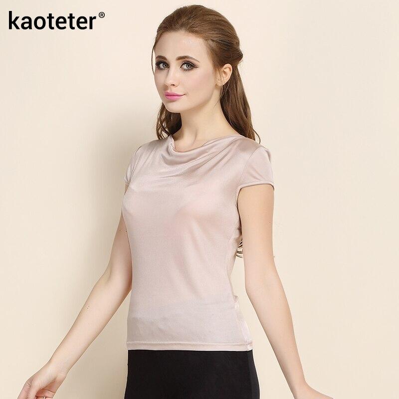 100% Saf İpək Qadın T-shirt Femme Yaz Qısa Qollu Qadın Dəri - Qadın geyimi - Fotoqrafiya 3