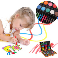 150pcs/set Stationery Children Pencils Painting Supplies Learning Water Color Pen Colouring Art Gift Wooden Box