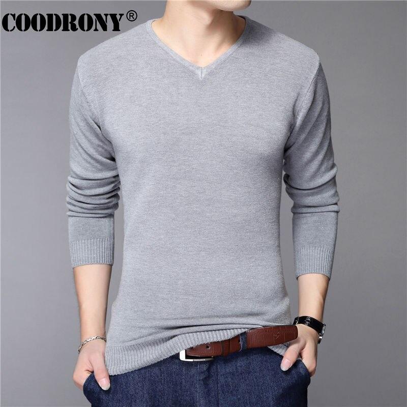 Vêtements, accessoires Casual Slim Fit Sweater Hommes Classique Pull-Over v-cou solides Couleur Cachemire Laine