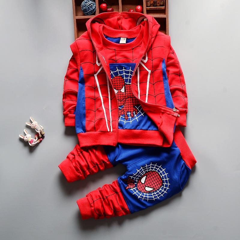 2018 bebé niños Spider Man ropa historieta de la impresión chaqueta +  Camiseta + Pantalones niños a7d91b1794765