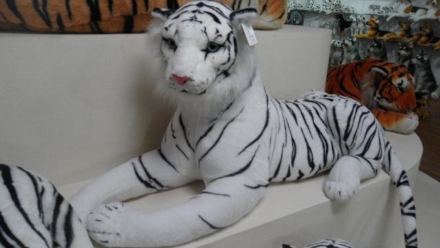 Stuffed Animal 60 Cm Plush Lying Tiger Toy White Tiger Doll Great