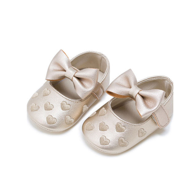 MSMAX Baby Shoes Leather Butterfly-Knot Heart Print Mary Jane Soft Bottom Girls  Party Princess Crib Shoes 5f2a04bccd03