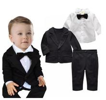 Baby Boys Gentlemen Suits 2017 Spring Autumn Blazer Coat+Shirts+Pants Infant Outfits 3PCS Set Suits Kids Birthday Formal Wear