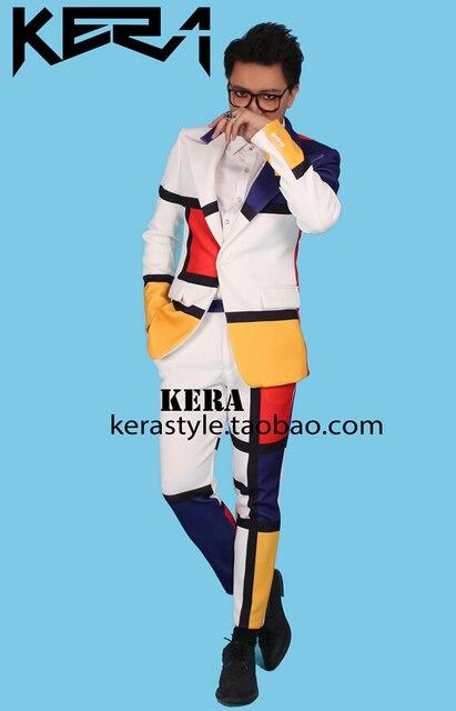 S-5xl! Moda męska nowy szczupły prawy Top w tym samym kolorze szwy komplet garniturów kostiumy dla piosenkarzy odzież płaszcz Dj suknia