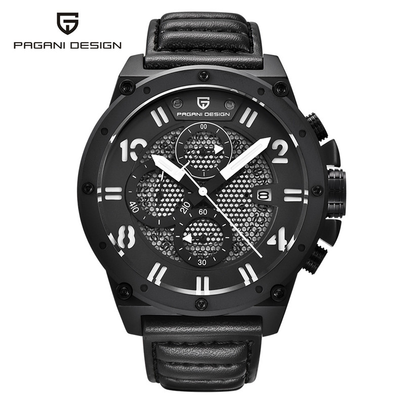PAGANI DESIGN Sport Mens Quartz Watches Chronograph 10ATM Water Resistant Genuine Leather Watchband Outdoor Military Male Watch genuine jedir quartz male watches genuine leather watches racing men students game run chronograph watch male glow hands