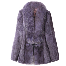 Sexy Fur Overcoat Women Rabbit jacket Real Coats  For Winter Autumn with big raccoon collar Outwear High Quality