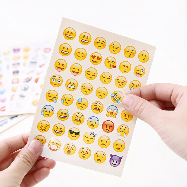 Cute lovely 48 die cut emoji smile stickers decal for laptop sticker notebook message mobile phone