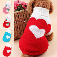 2016Lovely strawberry heart pet dog sweater autumn winter dog clothes