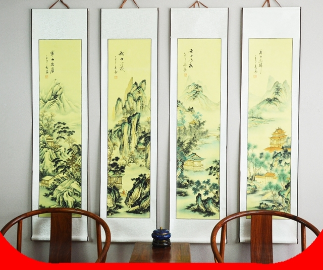 Large Scroll Painting by numbers / Landscape Four picture ...