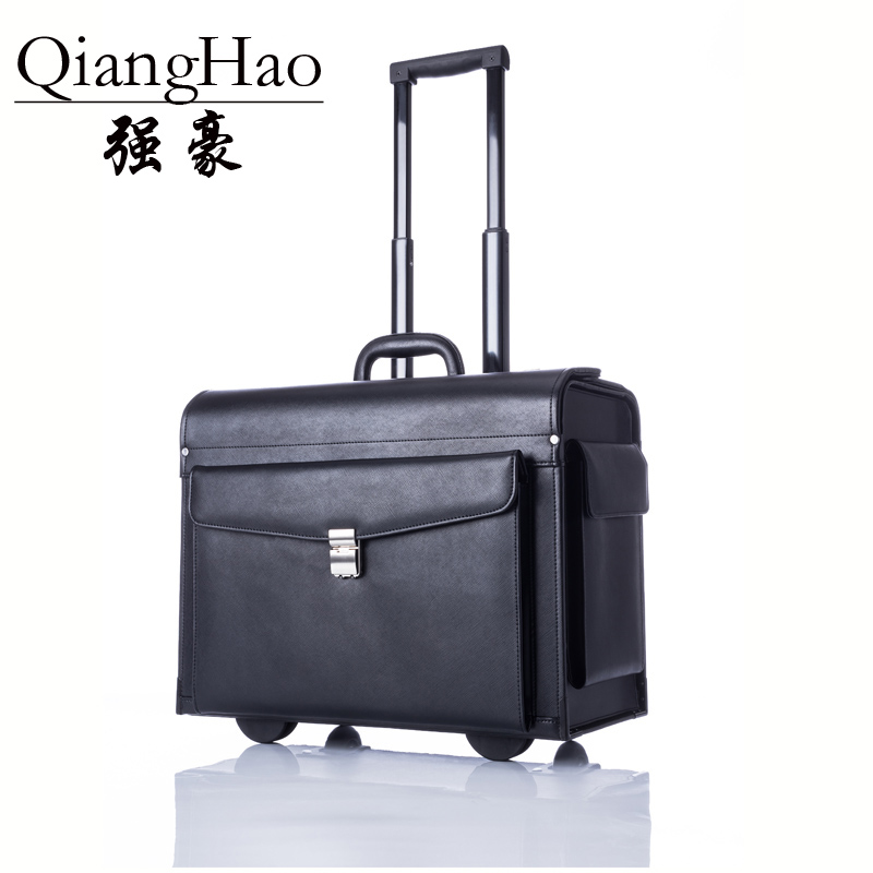 100% cow Leather  Luxury Business  Trolley Suitcase Pilot Captain Rolling Luggage Mens Fashion 17 Inch Travel Case Women black y road travel trolley luggage suitcase 100