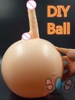 Novo! Sex Shop Realista Enorme Vibrador Grande Dick Penis Adult Sex Toys Para A Mulher, Consoladores Strapon Inflável Jump Ball DIY