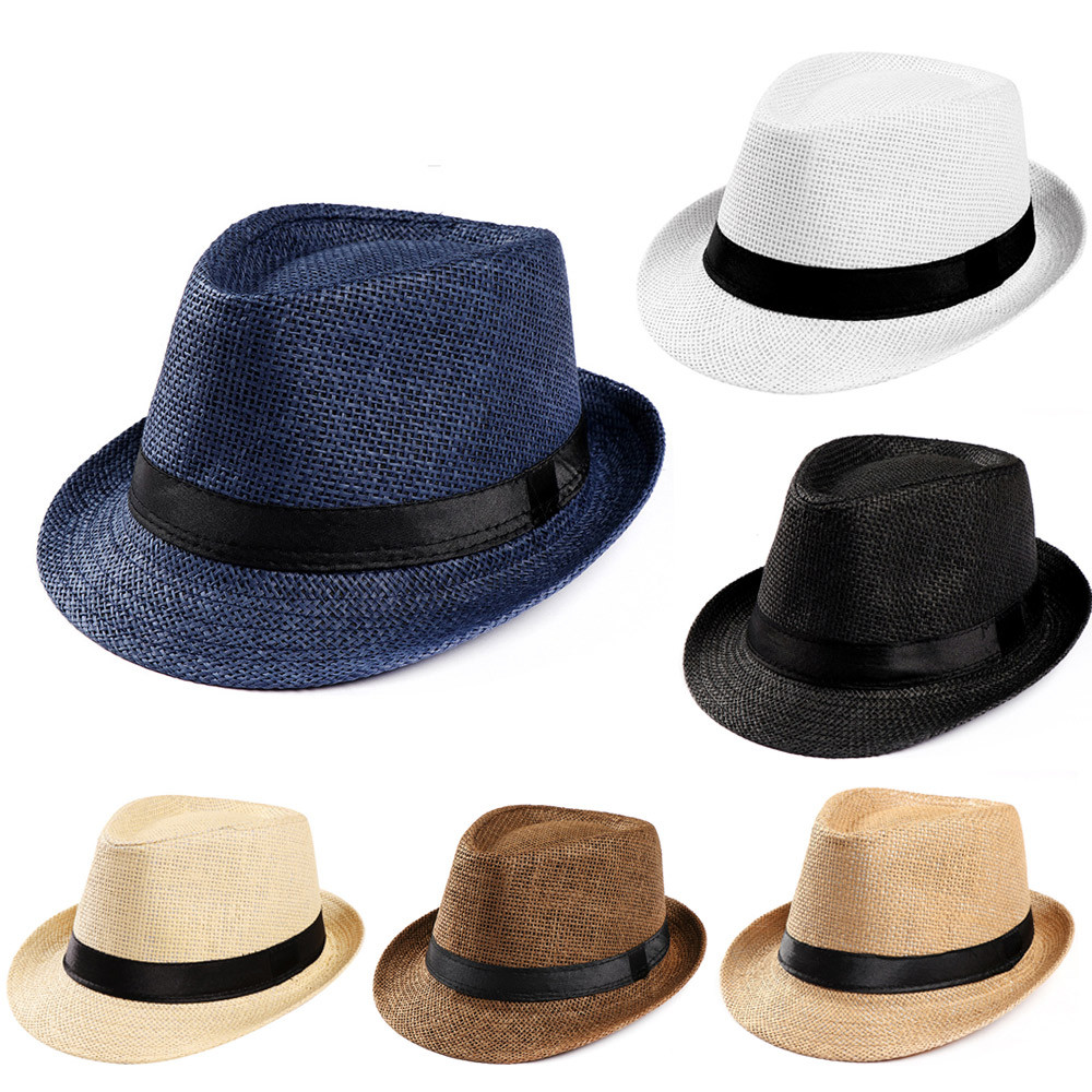 Summer Unisex  Women Men Trilby Gangster Cap Beach Straw Hat Band Sun Hat