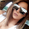 HBK 2016 New Square Cool sunglasses men women Flat Top Mirror Sun Glasses Lady Eyewear Full Metal Large Oversized Size Female