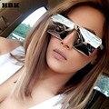 Hbk 2016 new square gafas de sol frescas hombres mujeres flat top espejo Gafas de Sol Gafas Señora Full Metal de Gran Tamaño de Gran Tamaño femenino
