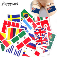 9474edf64 glaryyears 3 Sheets World 2018 Cup National Flag Tattoo Sticker Temporary  Brazil Russia Flag Football Game Body Face Hand Tattoo