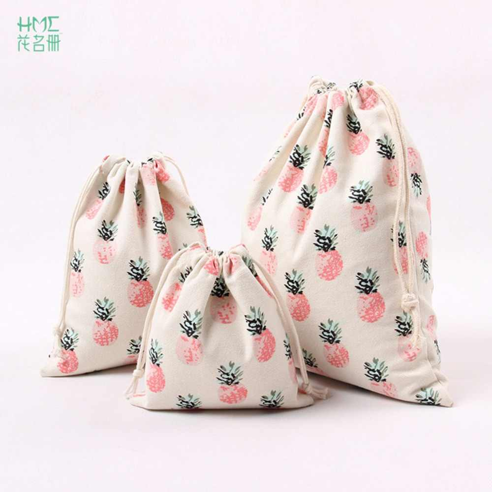 1pc 3sizes Printed Linen Bags Custom Made Beam Pocket Coffee Beans Tea Gift Bag With Pineapple Printing