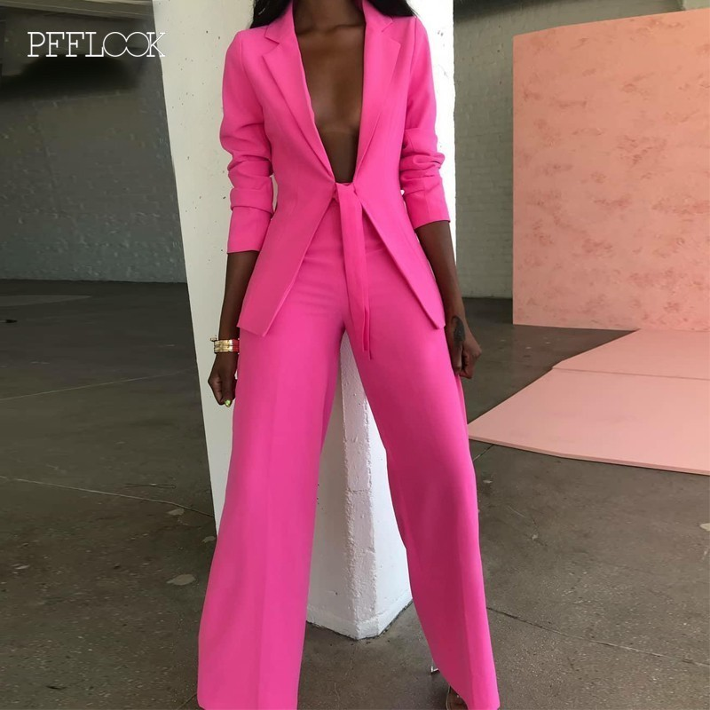 PFFLOOK 2019 Summer Two Pieces Set Women Long Sleeve Suit Casual 2 Piece Set Blazer Jacket Top And Pants Women Two Piece Outfits