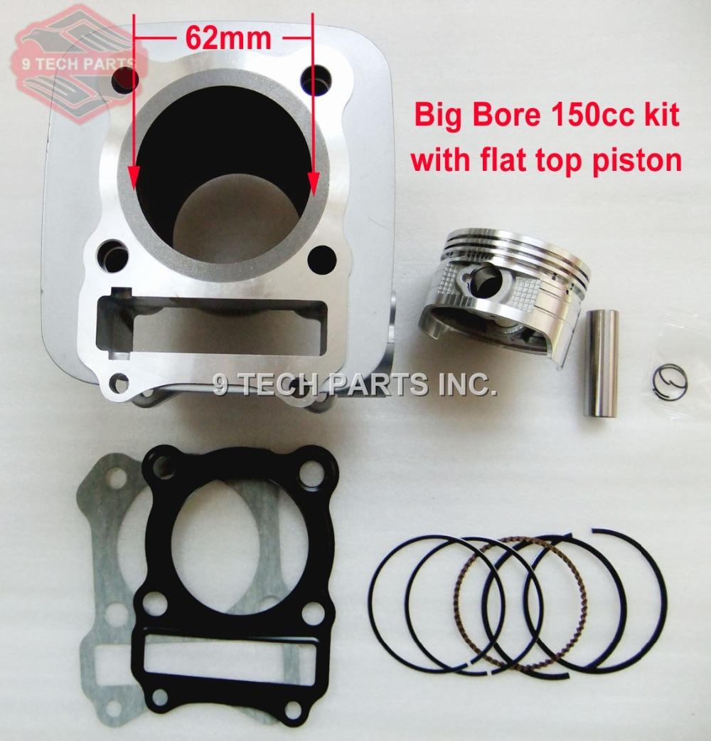 Moto GRAND ALÉSAGE Baril Cylindre Piston Kit 150cc 62mm pour GS125 GN125 EN125 GZ125 DR125 TU125 157FMI K157FMI moteurs