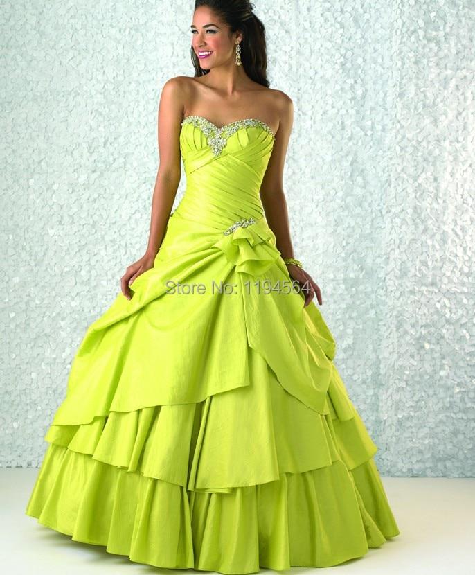 Taffeta Lime Green Quinceanera Dresses Beading Sweetheart ...