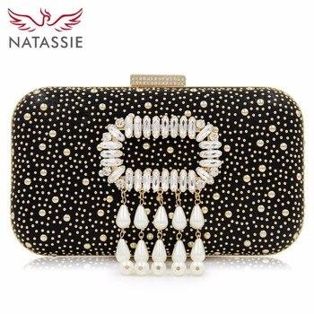 NATASSIE 2018 New Arrival Women Clutch Ladies Box Clutches Fashion Beaded Bag Tassel Evening Bags Female Wedding Purse box clutch purse
