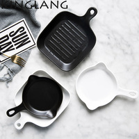 Europea de cerámica olla de arroz al horno panqueque mate creativo Huevos Fritos plato bandeja de horno