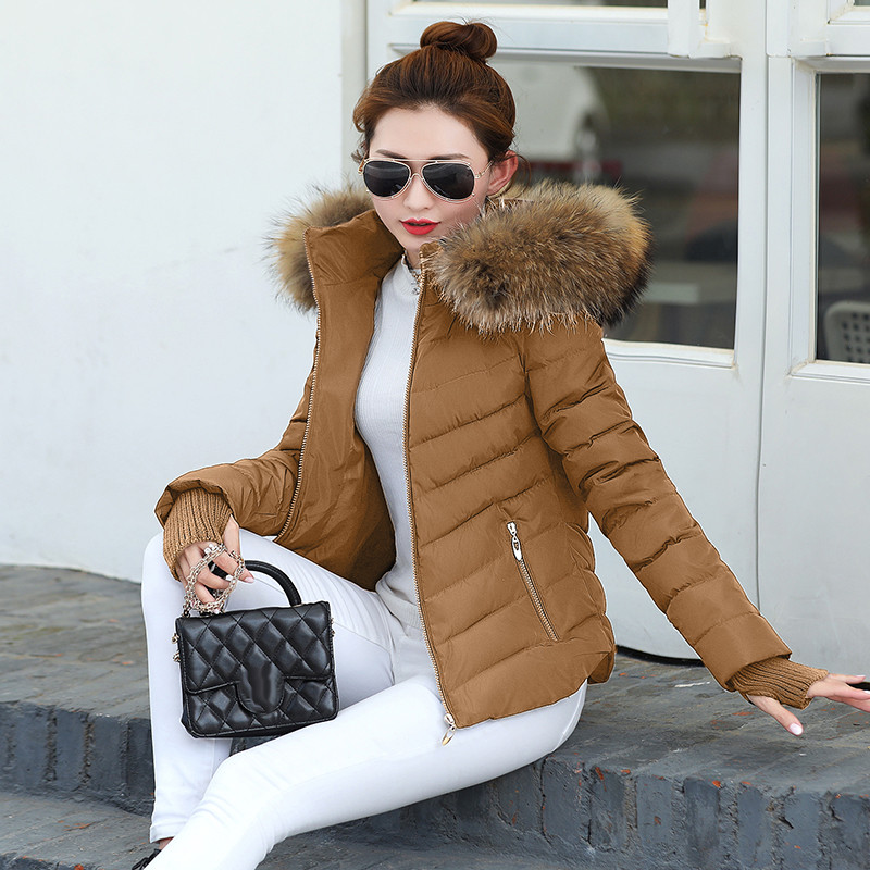 Winter Jacket Outwear Fur-Collar Coat Women Slim-Fit Detachable Warm Gloves Hat