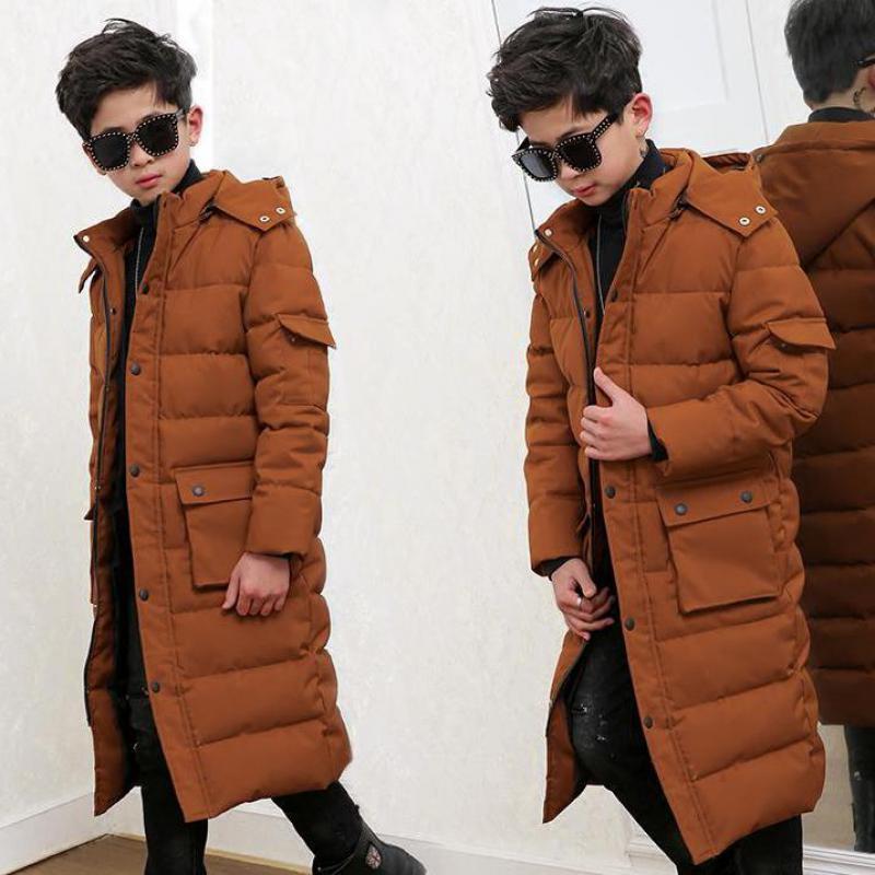 2019 garçons Extra Long chaud coton bas manteaux enfants extérieur à capuche coupe-vent enfants vestes pour froid hiver vêtements de noël