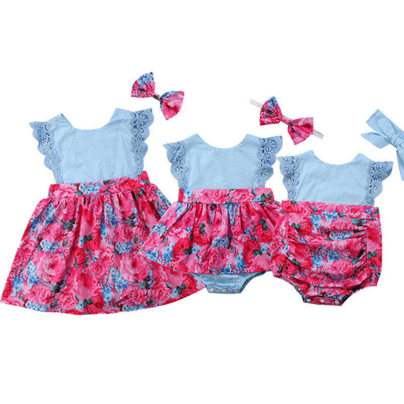 все цены на Summer Kid Baby Girls Little Sister Lace Floral Sleeveless Bodysuit Romper Sunsuit Jumpsuit Big Sister Dress Outfit Bow Headband