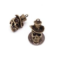 Pure Copper Wearing A Hat Skull Pendant Pendant Brass Hat Skull Head Pendant Personalized Key Chain