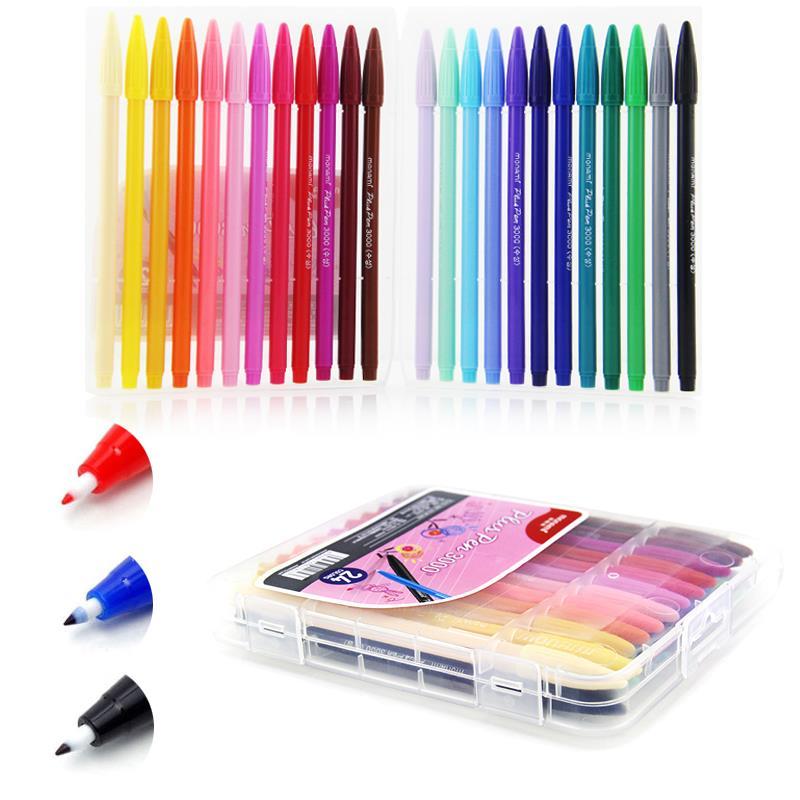Korean DIY Cartoon Drawing Colorful Water Based Ink Lettering Marker 0.4mm Ink Pen Graffiti Sketch 12/24/36 Colors Art Supplies