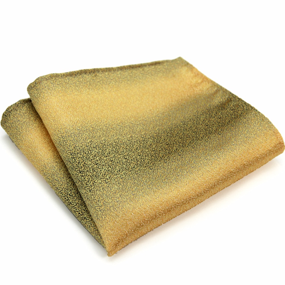 Solid Stripes Gradual Color Yellow Gold Gray Grey Mens Pocket Square 100% Silk Handkerchieves Casual Business Wholesale