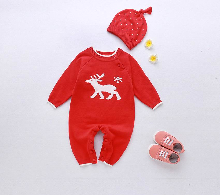 2016 Christmas Baby Romper Boy Girl Red Deer Long Sleeve Rompers Toddler Jumpsuit With Hat Kids Clothing 12211 newborn baby rompers baby clothing 100% cotton infant jumpsuit ropa bebe long sleeve girl boys rompers costumes baby romper