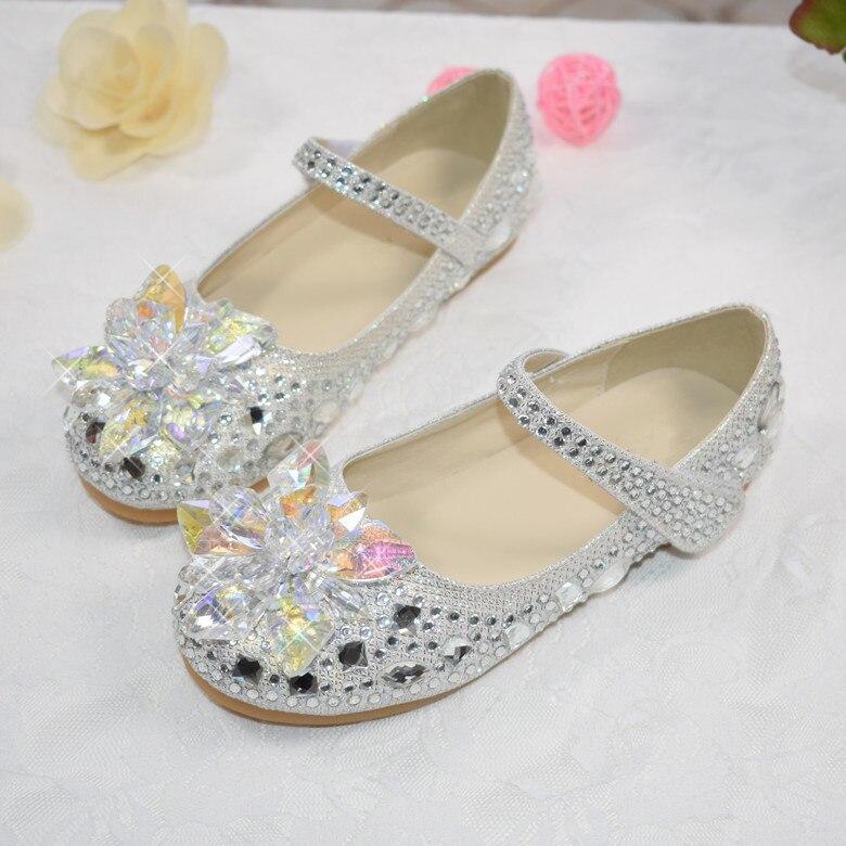Novas meninas sapatos de cristal moda plana