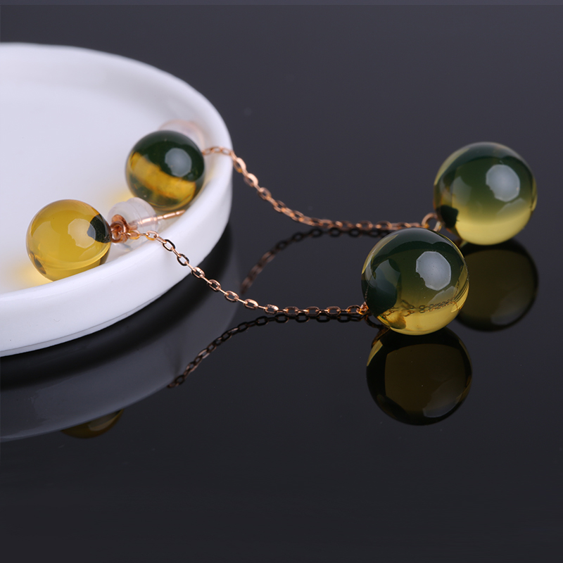 Robira New Style High Quality 18K Gold Earrings Drop Real Natural Blue Amber Long Earrings for Women Fine Jewelry Wholesale