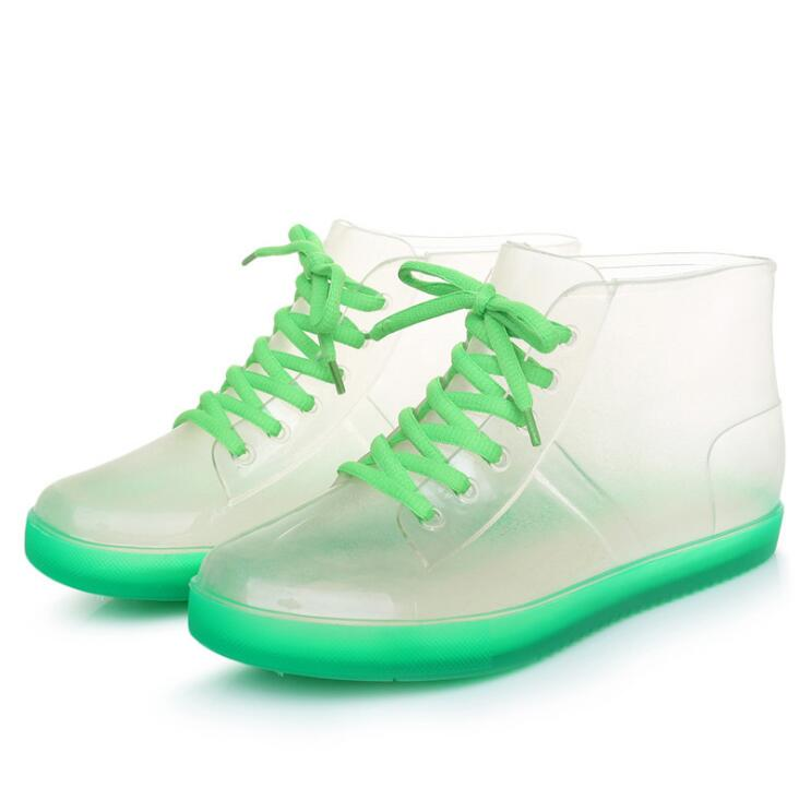 Rouroliu Women Cute Transparent Jelly Rain Boots Autumn Waterproof Lace-Up PVC Ankle Rain Shoes Woman Wellies RB174