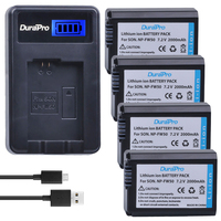 DuraPro 4Pcs NP FW50 NP FW50 Battery USB Dual Charger For SONY A5000 A5100 A7R A6000