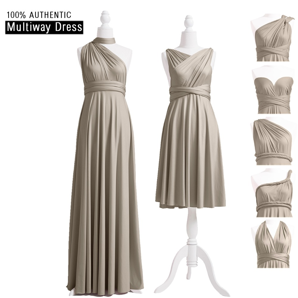 Taupe Infinity Bridesmaid Dress Long Multi-way Dress Taupe Wrap Maxi Dress Convertible Dress With Halter One Shoulder Styles