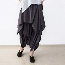 Новые летние и осенние черные льняные штаны женские свободные оригинальные необычные штаны юбки размера плюс женские брюки Капри
