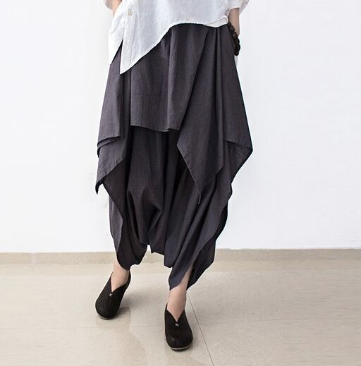 2016 New Summer and Autumn Black Linen Pants Female Loose Original Irregular Pants Skirts Plus Size