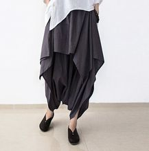 2017 New Summer and Autumn Black Linen Pants Female Loose Original Irregular Pants Skirts Plus Size Trousers Women Capris Pants