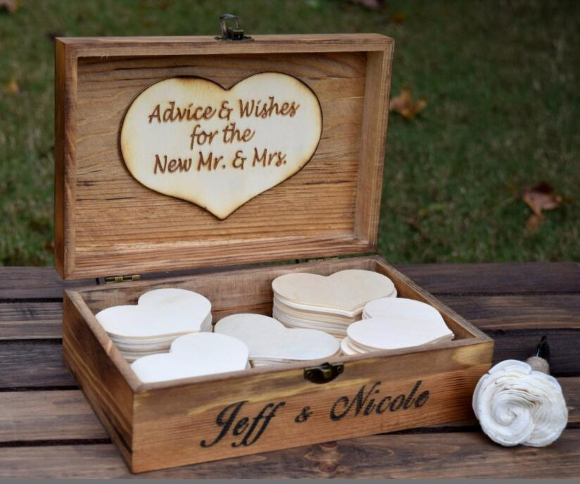 Personalized Wood Wedding Guest Book Wood Rustic Vintage Baby Shower Guest Book Alternative Drop In Wish Box W