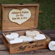 Libro de invitados de madera personalizado, libro de invitados de madera vintage rústico, libro de invitados para baby shower, gota alternativa en caja de deseos W