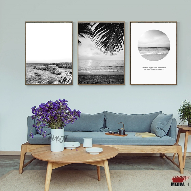 Posters wall art printed canvas painting for living room nordic decoration black and white beach ocean
