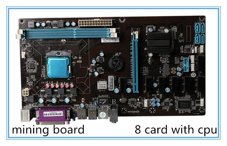 Новый горно материнской HM6X BTC с cpu ddr3 слот PCI E 8 материнская плата Поддержка 8 графика Материнские платы