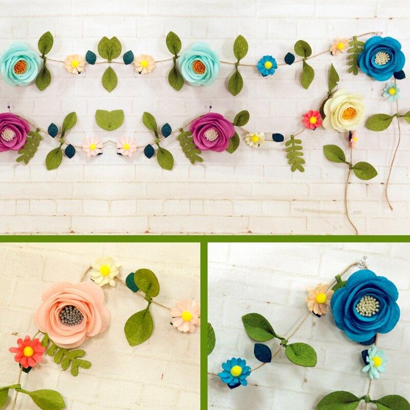 2019 Artificial Flowers & Rattan Felt DIY Package Handmade Fake Flowers Felt Applique Ornament Kit Nice Decoration For Bedroom